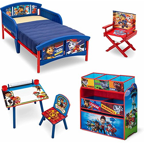 [Nick Jr. Paw Patrol 5 Piece Furniture Kids Set - Plastic Toddler Bed, Multi-Bin Organizer, Art Desk and Chair, Director's Chair for Boys] (Thomas The Train Costume Walmart)