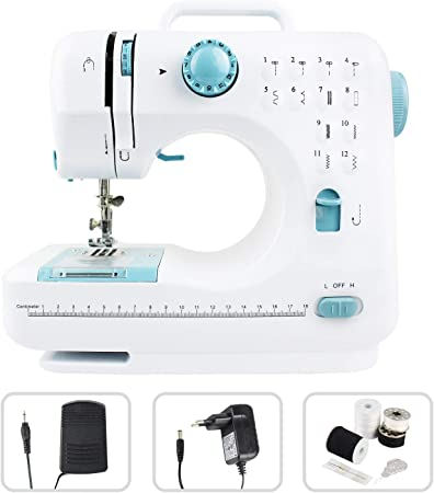 Leogreen - Máquina de Coser 12 Puntadas, Máquina de Coser Portátil, Blanzo/Azul, 12 Patterns, Material: Plástico ABS ...