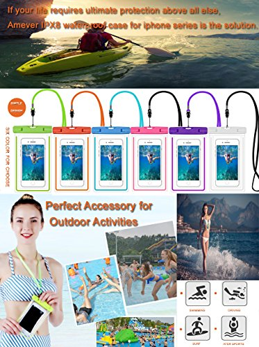 Universal Waterproof Case, Amever 4 Pack CellPhone Dry Bag Pouch Waterproof for iPhone X,7, 7 Plus,6S 6,6S Plus, 5S, Samsung Galaxy Phone S8, S7, S6, Note 5, 4 HTC LG Sony Nokia Motorola up to 6.0'' by Amever (Image #9)