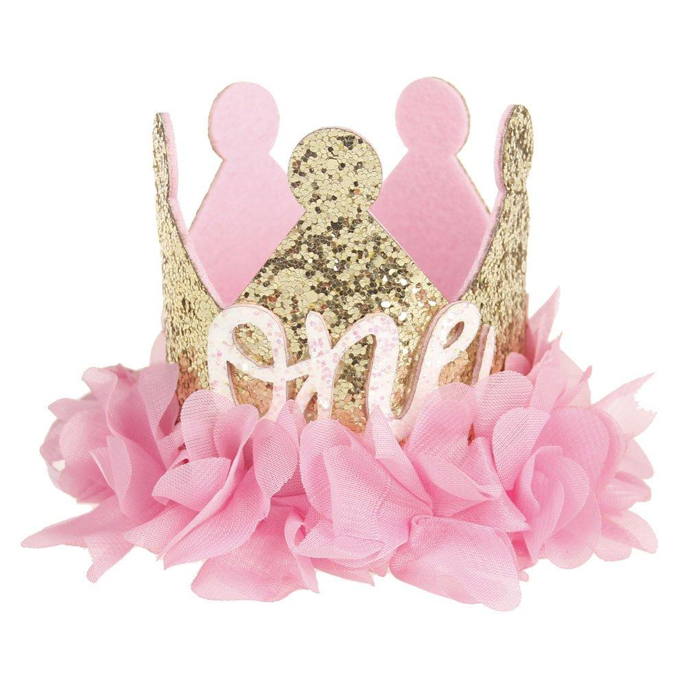 Love Sweety Baby Rose Flower Golden Crown Birthday Headband Hair Accessories (Chiffon Flower ONE)