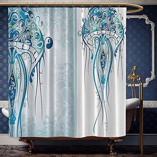 Wanranhome Custom-made shower curtain reatures Artistic Nautical Coastal Decor Ocean Jellyfish with Paisley Pattern Theme Beach Fishy Prints Design Blue White For Bathroom Decoration 36 x 78 - Lewis John Net Curtains