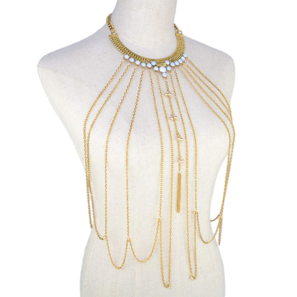 SeaPink Women's Gothic Body Chain Jewelry,Collar Necklace Crossover,Bikini Chains with Beads (Gold)