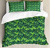 Green Duvet Cover Set King Size by Ambesonne, Tropical Island Forest Theme with Palm Trees Exotic Hawaii Nature Jungle, Decorative 3 Piece Bedding Set with 2 Pillow Shams, Jade Green Lime Green