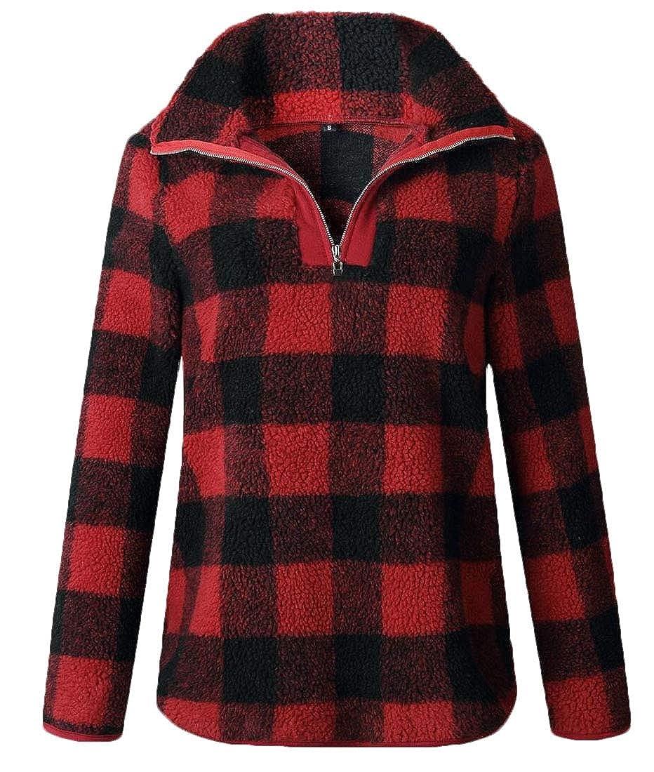 heymoney Womens Warm 1//4 Zipper Plaid Fluffy Long Sleeve Tops Sweatshirts