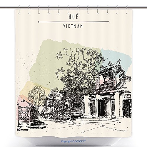Decorative Shower Curtains Hue Vietnam Southeast Asia Temples And Trees In Forbidden City Colorful Vintage Artistic 315041327 Polyester Bathroom Shower Curtain Set With Hooks