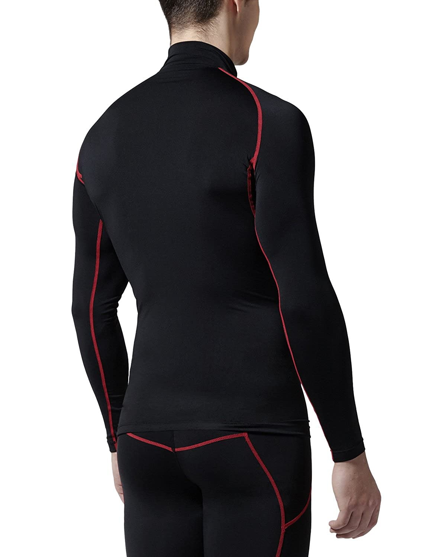 bea4913ed4 Amazon.com  Tesla CLSL TM-T11-BKRZ Large Men s Mock Long-Sleeved T-Shirt  Cool Dry Compression Baselayer T11  Clothing