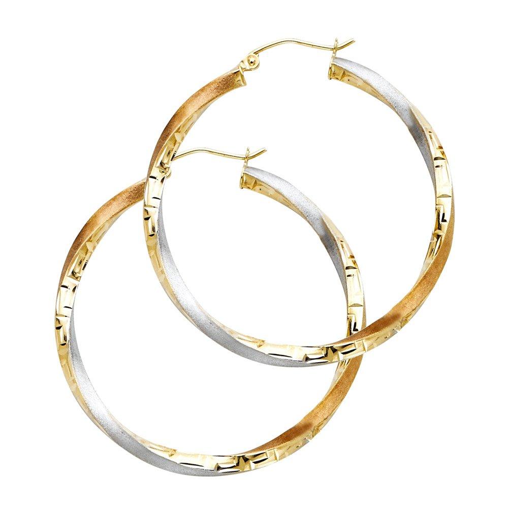 30mm 14k Tri-Color Gold Swirl Fancy Hoop Earrings
