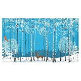 InterestPrint Home Decoration Christmas Winter Blue Birch Tree Deer Tablecloth Set 60 X 104 Inches - Animal Bird Forest White Snow Tablecover Desk Table Cloth Cover for Wedding Party Decor