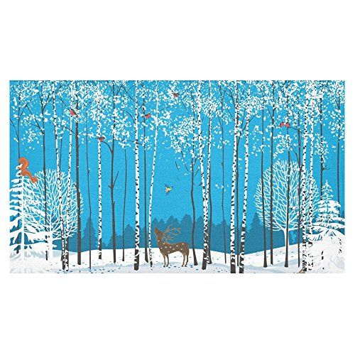- InterestPrint Home Decoration Christmas Winter Blue Birch Tree Deer Tablecloth Set 60 X 104 Inches - Animal Bird Forest White Snow Tablecover Desk Table Cloth Cover for Wedding Party Decor