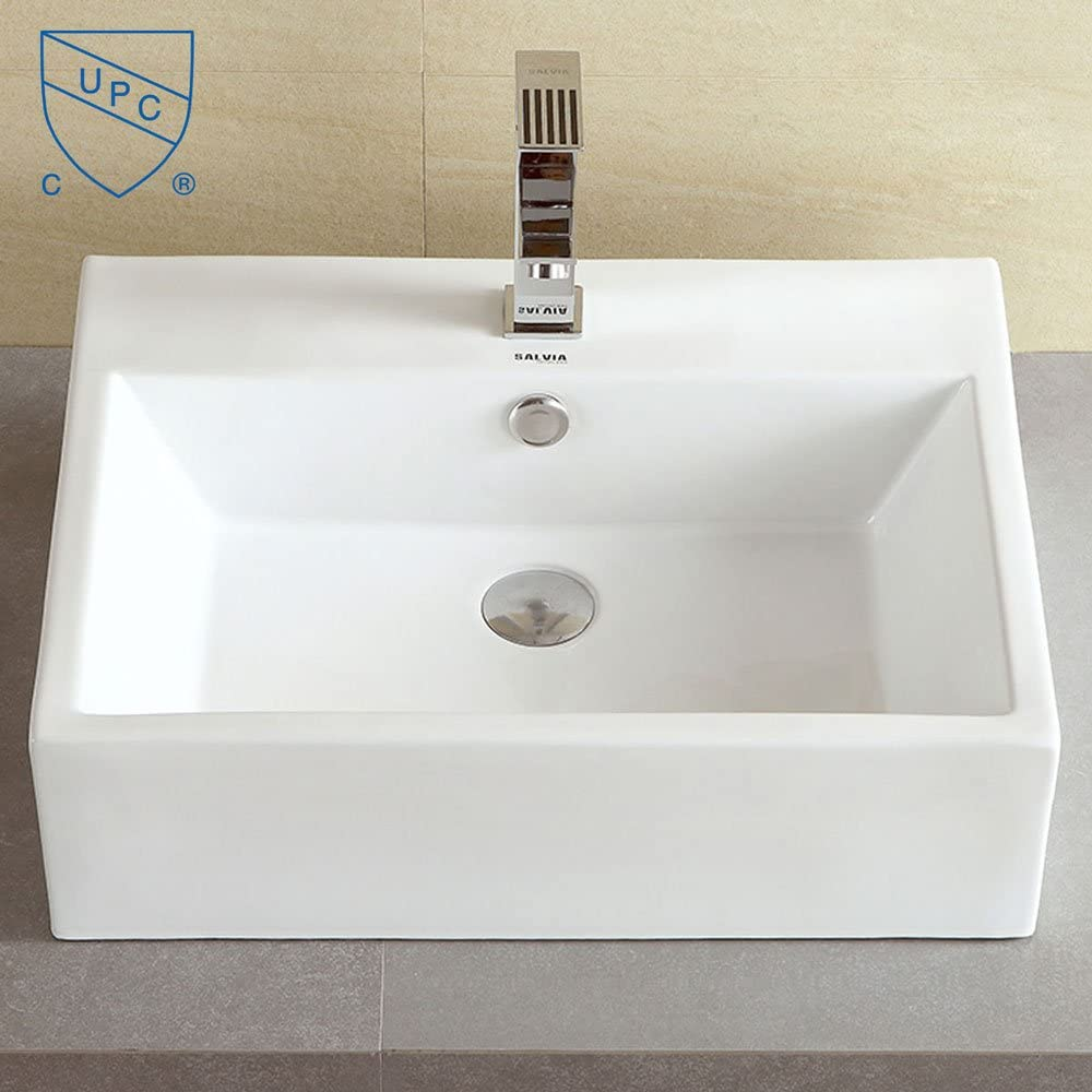 Decoraport White Rectangle Ceramic Bathroom Kitchen Vessel Sink Porcelain Vanity Above Counter Basin Bowl Cl-1094