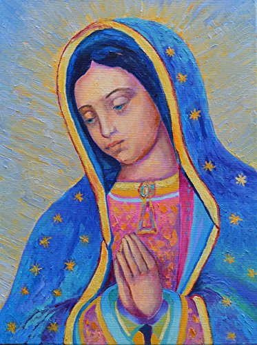 Our Lady of Guadalupe ORIGINAL GENUINE hand OIL PAINTING ON CANVAS Virgin Mary prayer picture Religious paintings by SmartPolonia