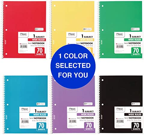 Assorted Colors 73063 1 Subject Mead Spiral Notebook 70 Wide Ruled Sheets 6 Pack
