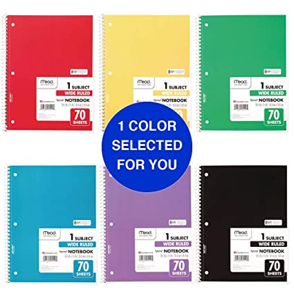 5411860ece31 Mead Spiral Notebook, 1 Subject, Wide Ruled Paper, 70 Sheets, 10-1/2