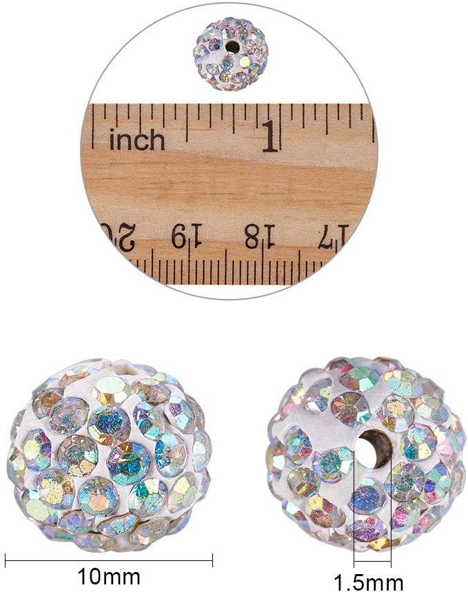 Premium Shamballa 10mm Cristal Disco Calidad Arcilla Bolas Pulsera Blanco 9 Ball
