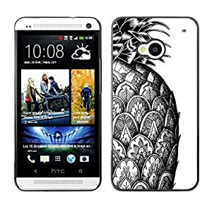 2015 CustomizedGraphic Case Hard Skin Case Cover Pouch - Pineapple Scales Ink Tattoo White Black - HTC One M7
