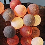 CHAINUPON 20 Cotton Ball String Fairy Lights Kid Bedroom,Home,Decor,Boys Girls Plug in Lights (Old Rose Gray)