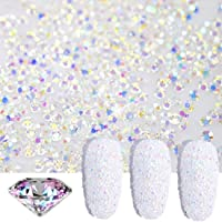 editTime 5000PCS Mini Ultra Tiny 1.2mm AB Shine Iridescent Crystals Micro Diamond Glass Sand Rhinestone for Nail Art…