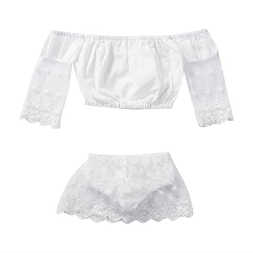 a2b9dad7a Amazon.com  Emmababy Newborn Baby Girls Off Shoulder Lace Tops ...