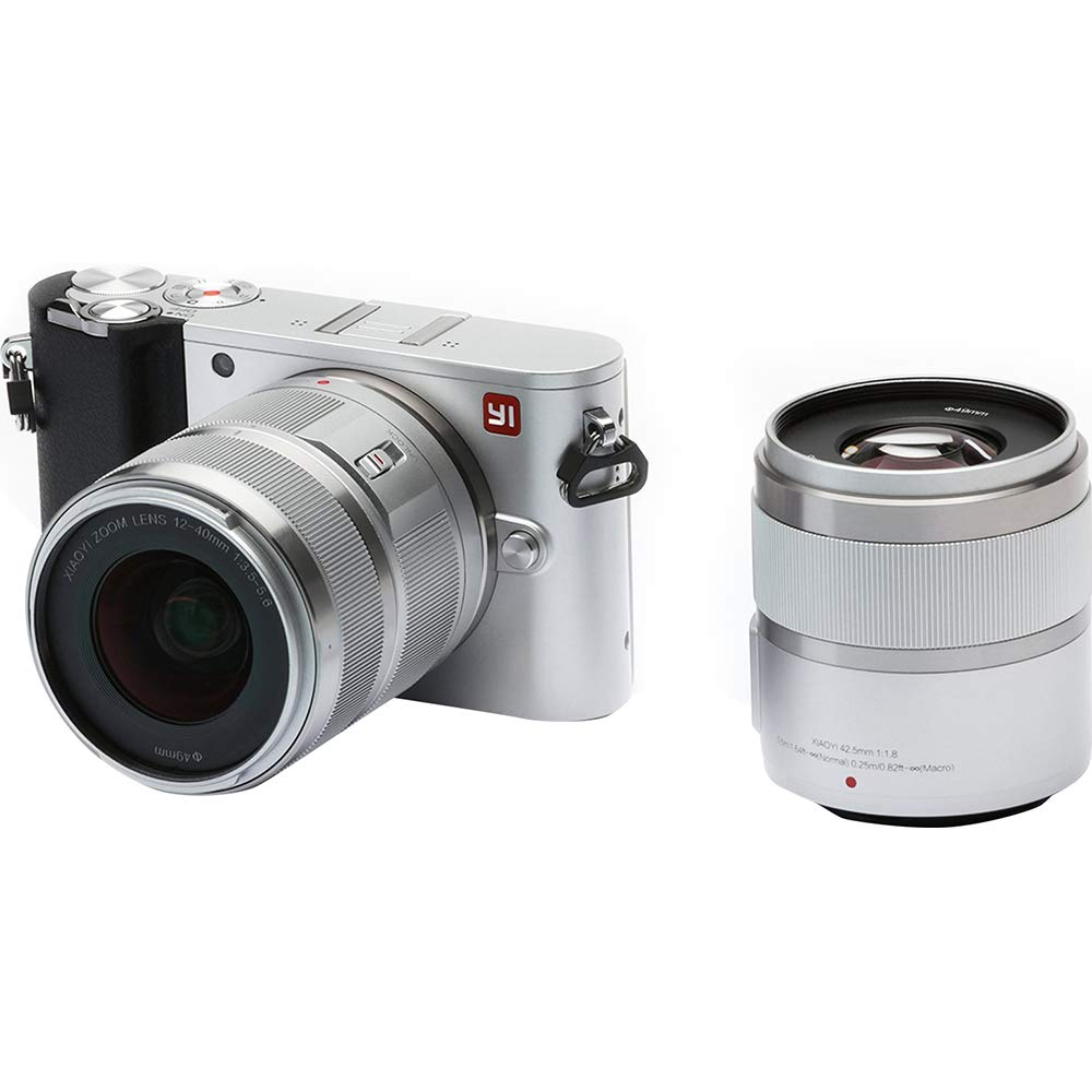 YI 4K 20MP Mirrorless Digital Camera with LCD Touchscreen, Wi-Fi, Bluetooth, Interchangeable Lens 12-40mm F3.5-5.6 Lens & 42.5mm F1.8 - Silver by YI