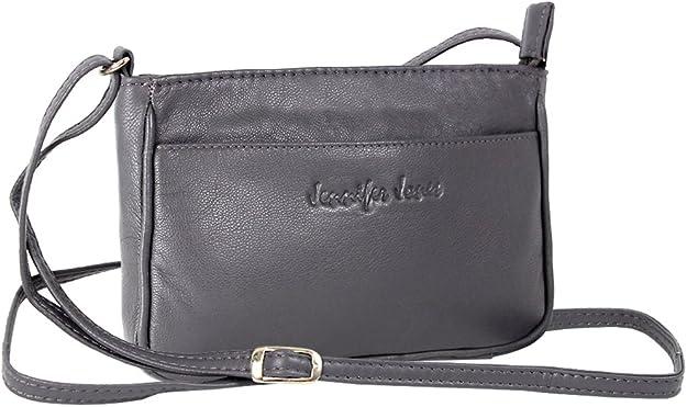 Jennifer Jones Taschen Damen 100% Leder Damentasche Handtasche Schultertasche Umhängetasche Tasche klein Crossbody Bag grau schwarz taupe (6126)