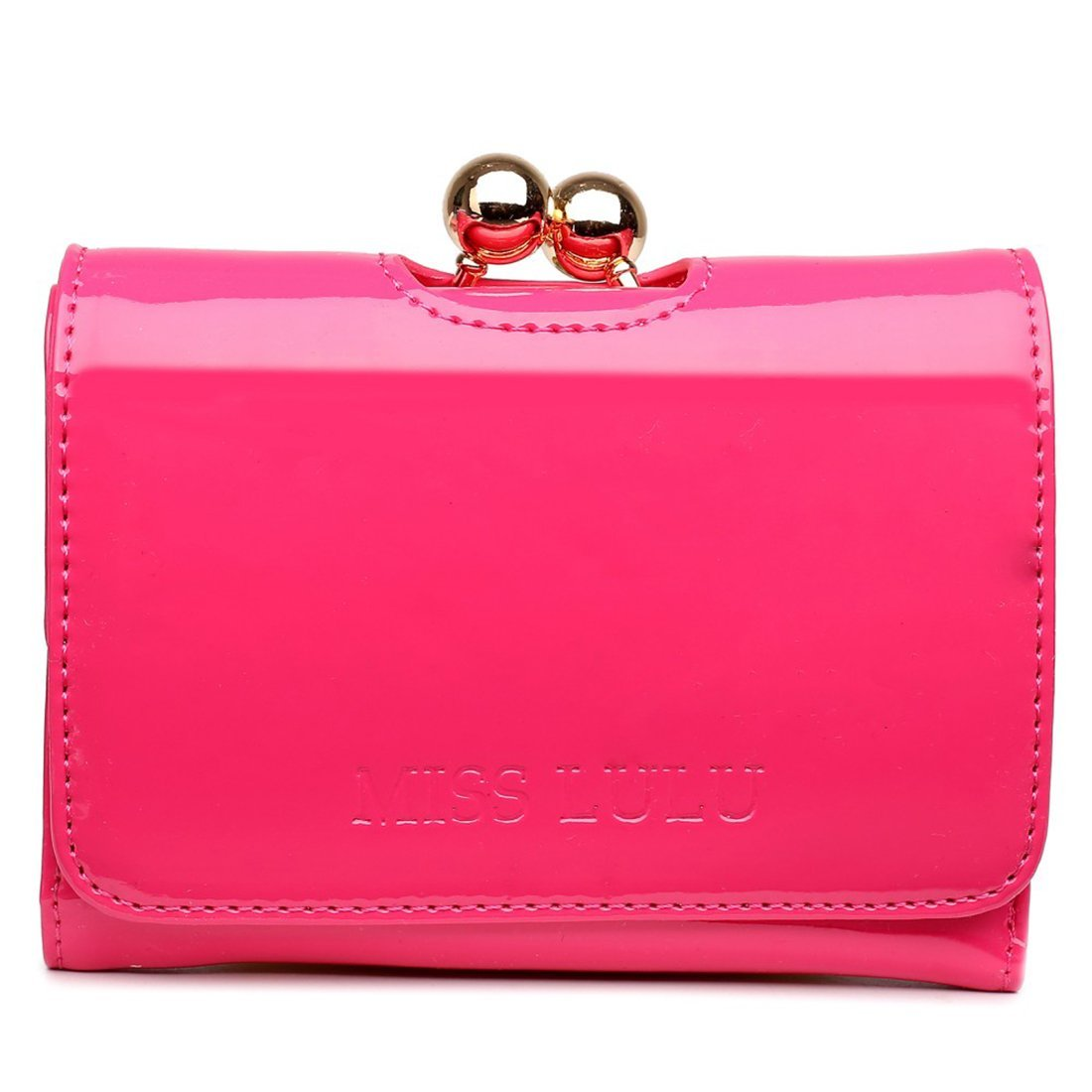 Miss Lulu Small Ball Clasp PU Patent Leather Clutch Wallet Purse