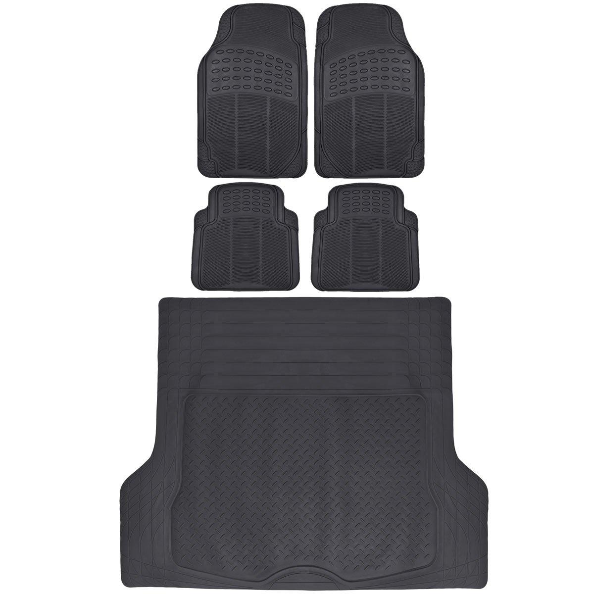 BDK Black Cargo Rubber Car Floor Mats All Weather Heavy Duty Set 5 pcs