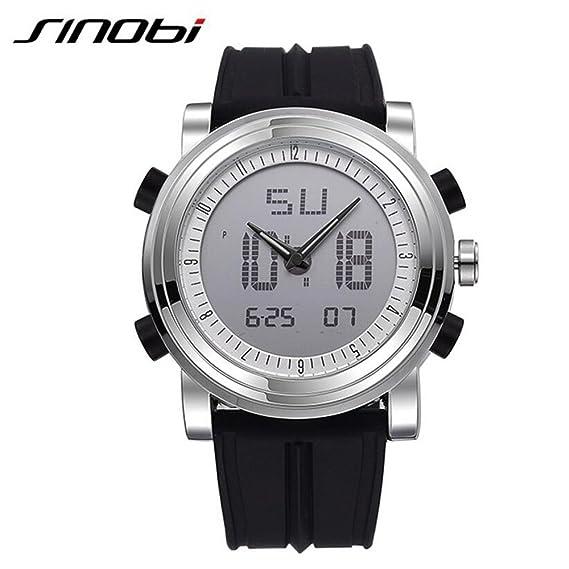 Sinobi al aire libre Military Luminous Reloj digital Hombres, hora dual Mutifunctional FECHA de cuarzo relojes para hombres: Amazon.es: Relojes