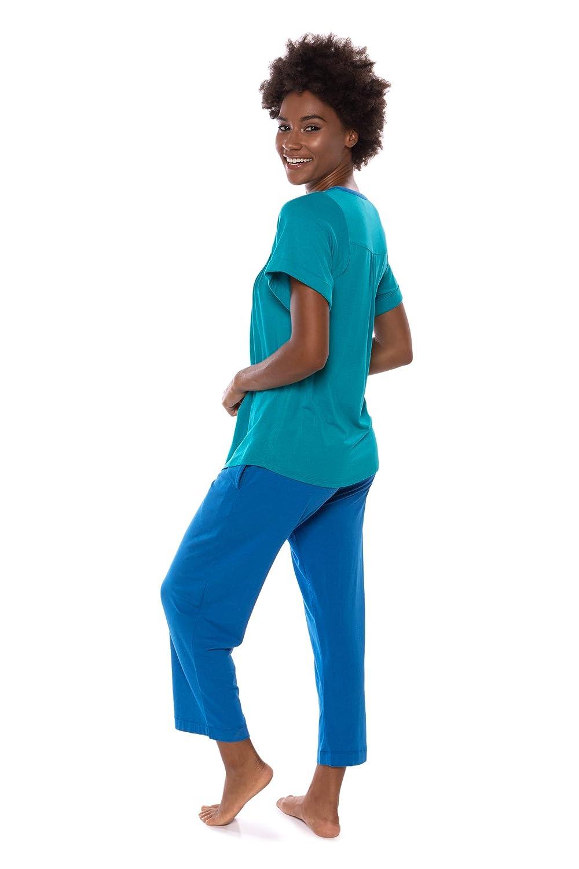 De la Mujer Set de pijama pijamas - bambú de Lujo de pijama para mujer - Azul - : Amazon.es: Ropa y accesorios