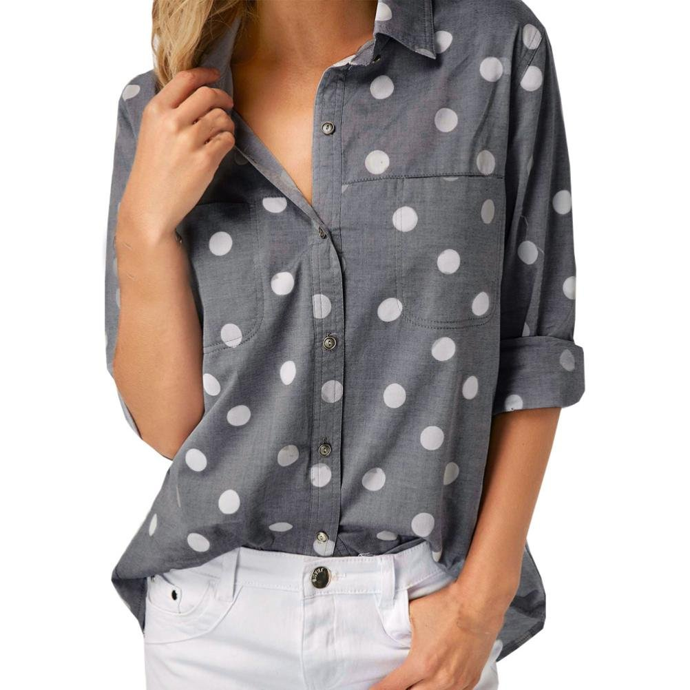 Spbamboo Women Work Office Dot Print Gray Casual Long Sleeve Shirt Blouse Top