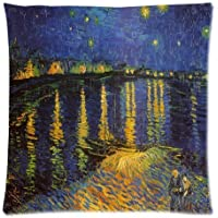 18 x 18 Inches Decorative Cotton Linen Square Throw Pillow Case Cushion Cover Van Gogh Starry Night Over The Rhone Design