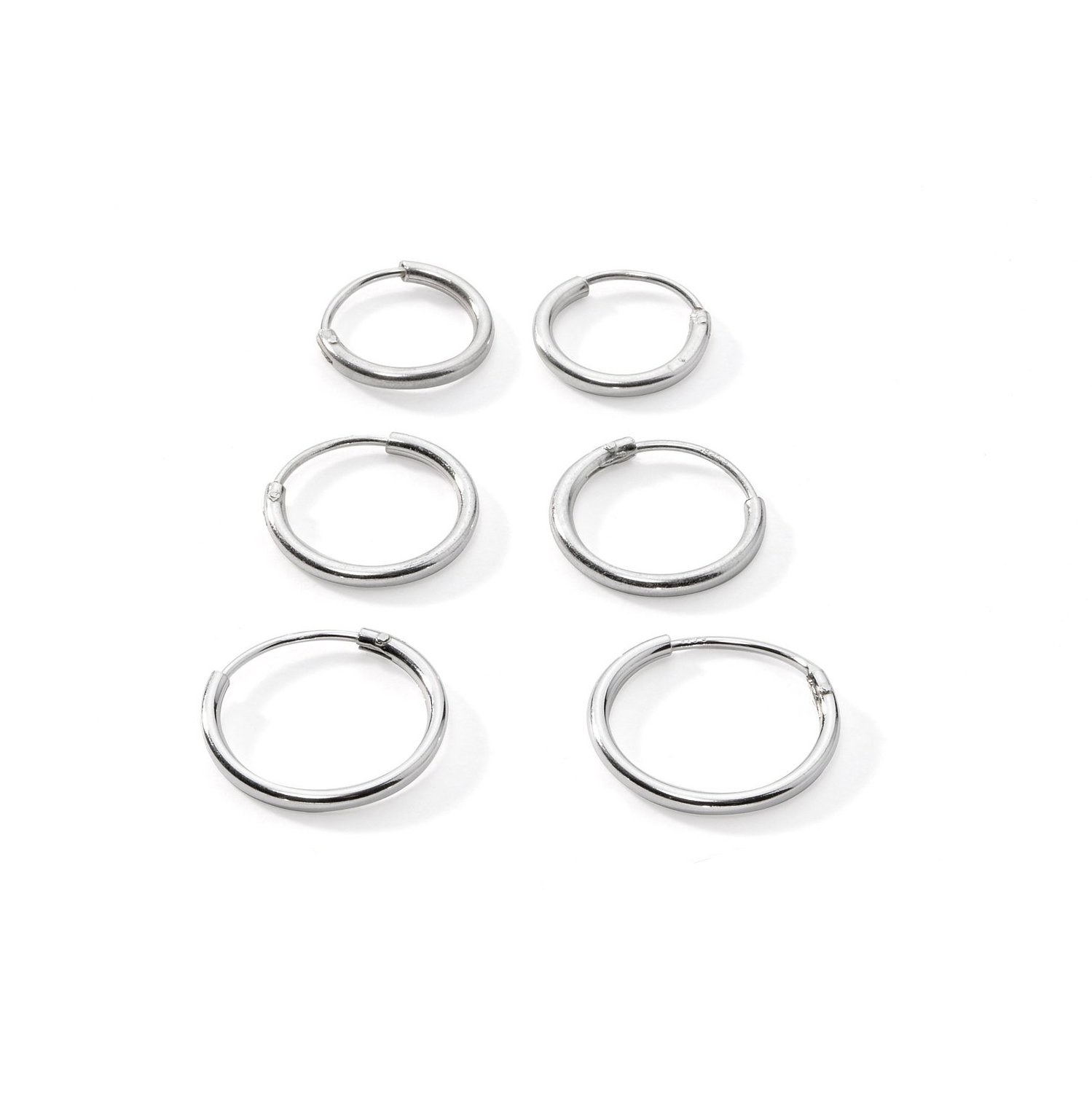 3-Pairs Cartilage/Nose/Lips Sterling Silver 925 Small Endless Hoop Earrings 10mm, 12mm, 14mm
