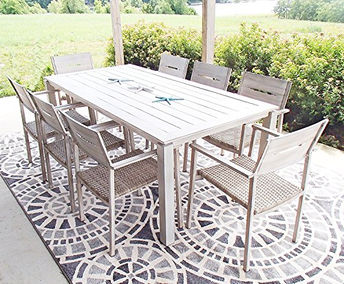 Pebble Lane Living All Weather Rust Proof Indoor/Outdoor 9 Piece Cast Aluminum Patio Dining Set, 1 Slat Top Dining Table & 8 Rattan Wicker Dining Chairs, Wood/Grey