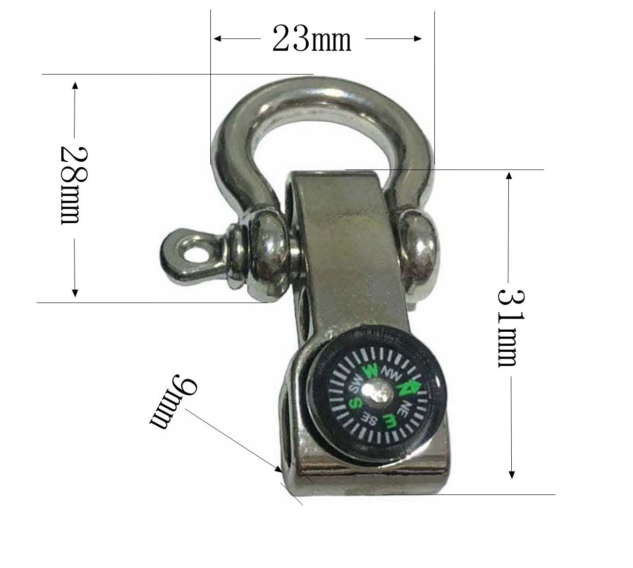 Silver 6Pack ZPING Stainless Steel Metal Clasps Outdoor Camping Emergency Survival Compass for Shackle