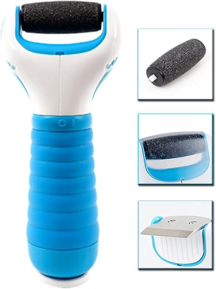 Limpiador de callos eléctrico para pedicura, resistente al agua-herramienta de cuidado de los pies incluye 3 rodillos minerales de piedra pómez, Un perfecto tratamiento de fisuras