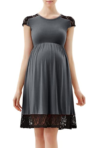 10a751a09eeed Momo Maternity Women's Lace Insert Skater Dress - Dark Heather Gray XS:  Amazon.ca: Clothing & Accessories
