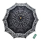 TopTie Lace Parasol Wedding Umbrella Bridal Shower Party Photo Prop Decoration BLACK-12PCS