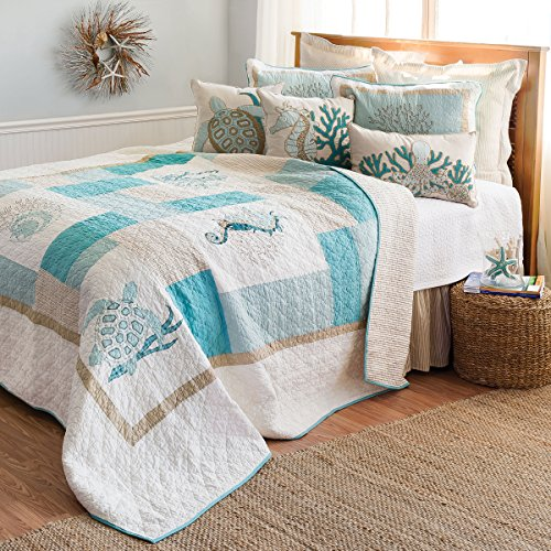 Tan Turtle - C&F Home 82139.10592 Saltwater Serenity Quilt, King, Tan