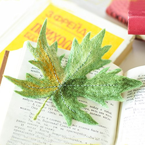 (Maple Leaf Brooch Green Leaves Jewelry Fashion Trend Brooch Green Leaf Pin Woodland Brooches Felted Jewelry Ecofriendly Gift for Her Original Gift for Teacher)