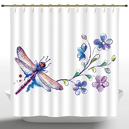 Soft Fabric Shower Curtain By IPrintDragonflyWatercolor Bug Butterfly Like Moth With Branch