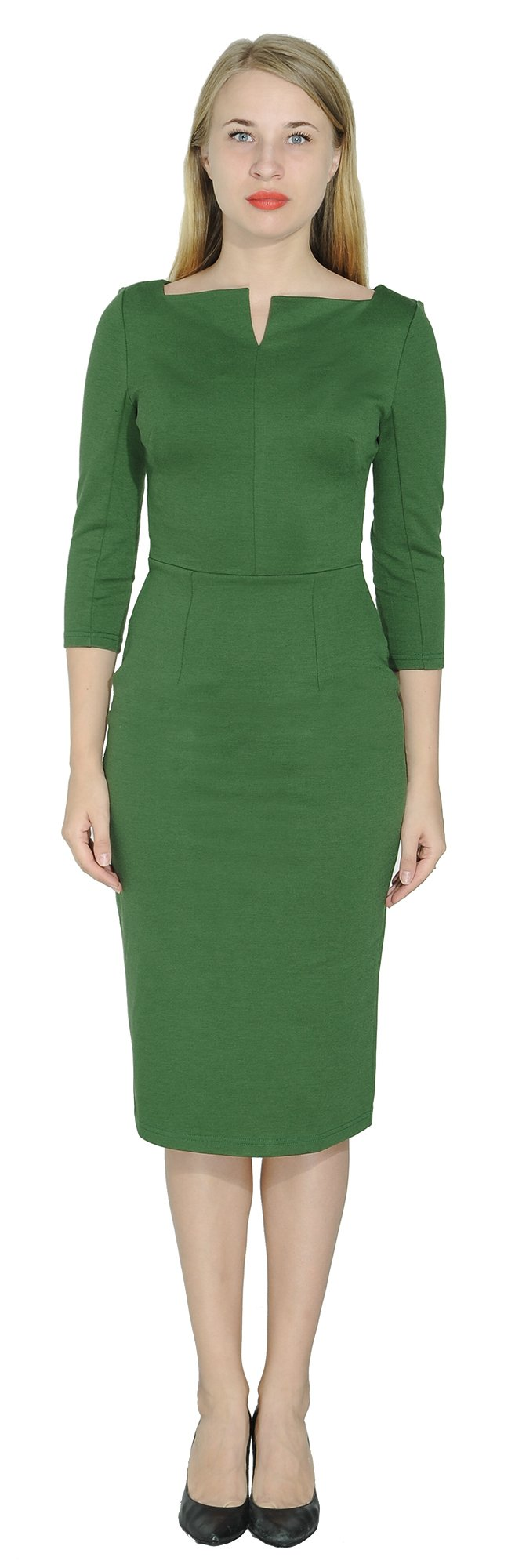 Marycrafts Women's Work Office Business Square Neck Sheath Midi Dress 12 Forest Green