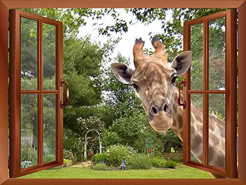 Giraffe Window - wall26 A Curious Giraffe Sticking its head into an Open Window Removable Wall Sticker/Wall Mural - 36