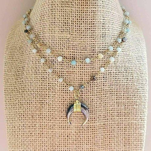 Small Crescent Horn Rosary Chain Beaded Choker Necklace Double Strand Amazonite Stones Semi Precious Gold