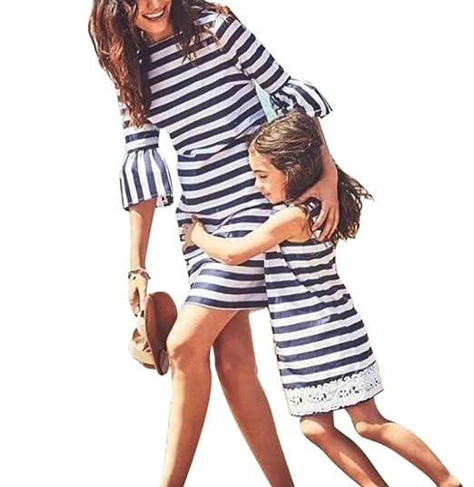 Vestido de niña de la familia Vestido de niña de la mamá Vestido de playa de la raya Vestido de niña de la falda mini de la mujer: Amazon.es: Ropa y ...
