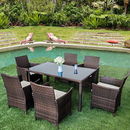Merax 7-piece Outdoor Wicker Dining set - Dining table set for 6 - Patio Rattan Furniture Set with Beige Cushion (Brown) (Resin Wicker Dining Chairs)