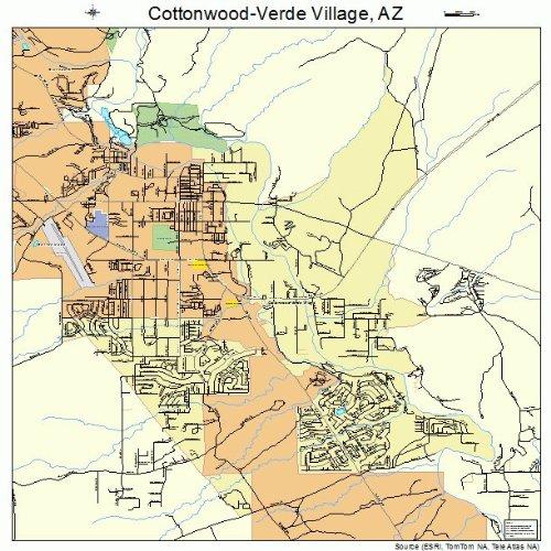 Large Street & Road Map of Cottonwood-Verde Village, Arizona AZ - Printed poster size wall atlas of your - Village Cottonwood
