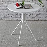 Funmall White Modern Round Table Tea Coffee Dining Living Room Furniture Home Decor with Splayed Leg Base