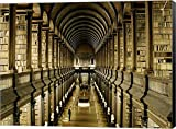 Interior of the Library, Trinity College, Dublin Canvas Art Wall Picture, Museum Wrapped with Black Sides, 37 x 28 inches