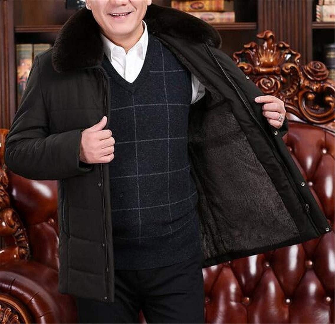 XXBlosom Mens Overcoat Faux Fur Collar Fleece Lined Winter Warm Parkas Coats Jacket