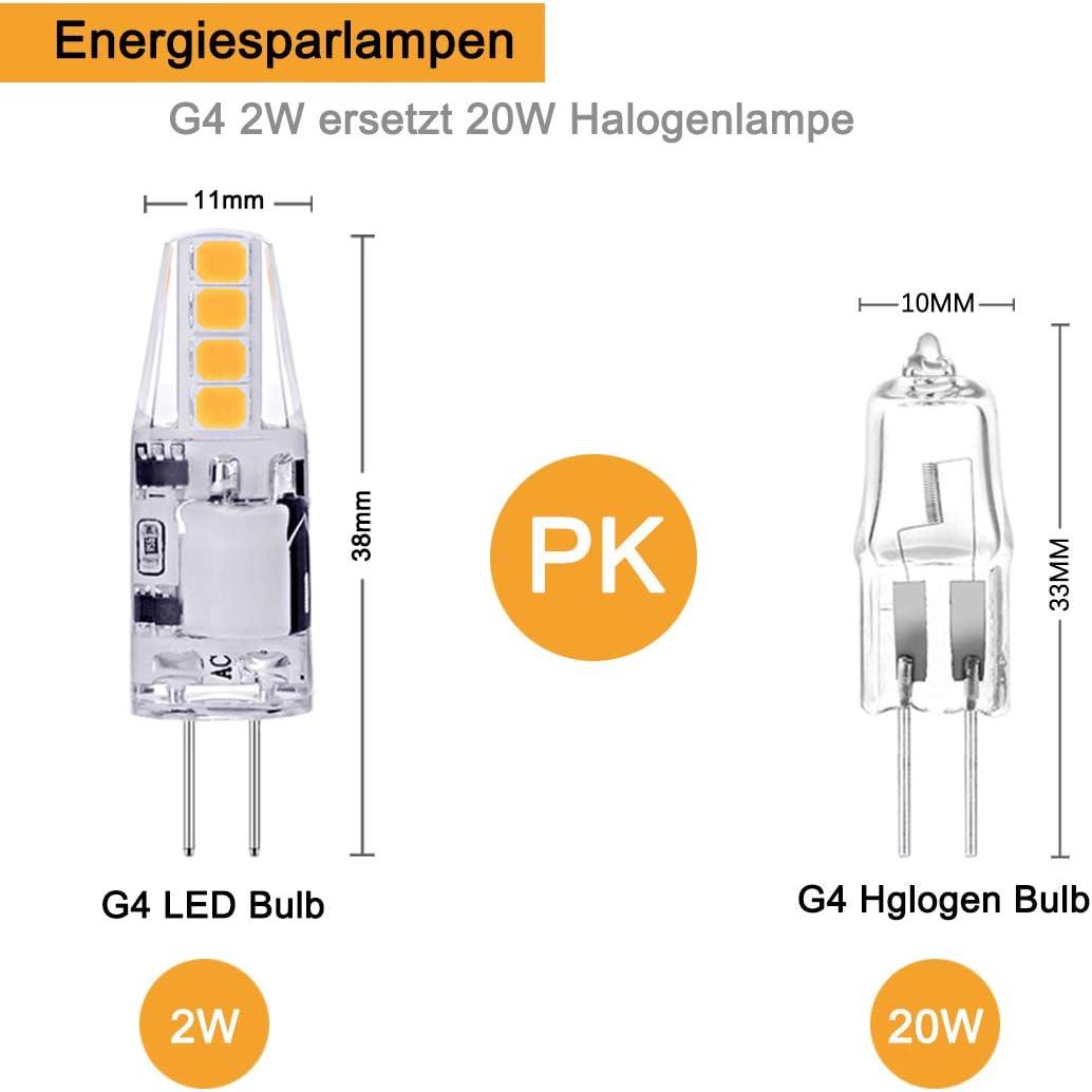 2W LED Birnen ersetzt 20W Halogenlampen 10er Pack Nicht Dimmbar Stiftsockellampe Gl/ühbirnen Kaltwei/ß 6000K 160LM 12V AC//DC LED Leuchtmittel 360/° Kein Flackern G4 LED Birne AGOTD G4 LED Lampen