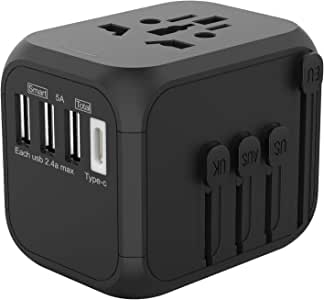 Jollyfit International Universal Travel Adapter Type C and 3 USB Charger Power Wall Plug US UK AU EU Worldwide 150 Countries with Safe Fuse for Europe British European Adapter (Black 3 USB and Type-C)